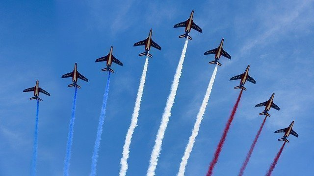 French military fly past