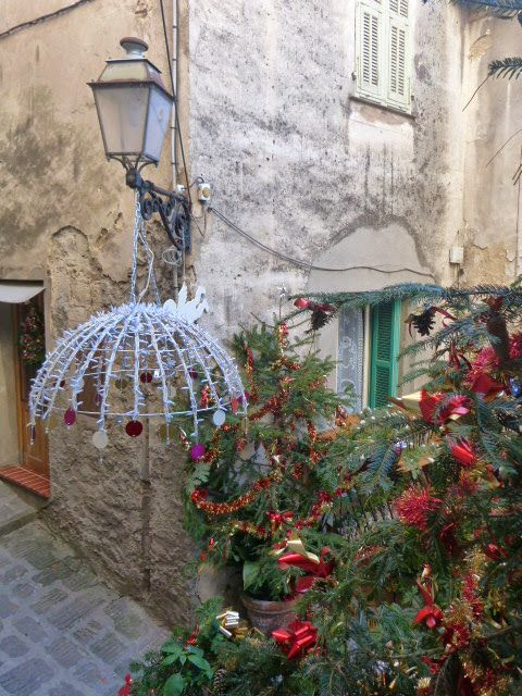 Lucéram christmas village decorations in street