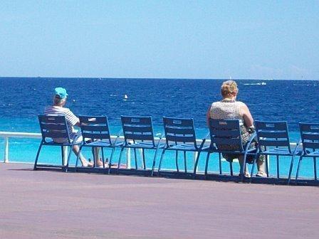 blue chairs promenade des Anglais Nice