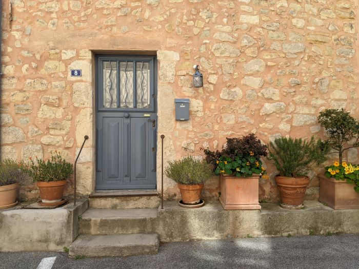 grey door with pot plants in Châteauneuf