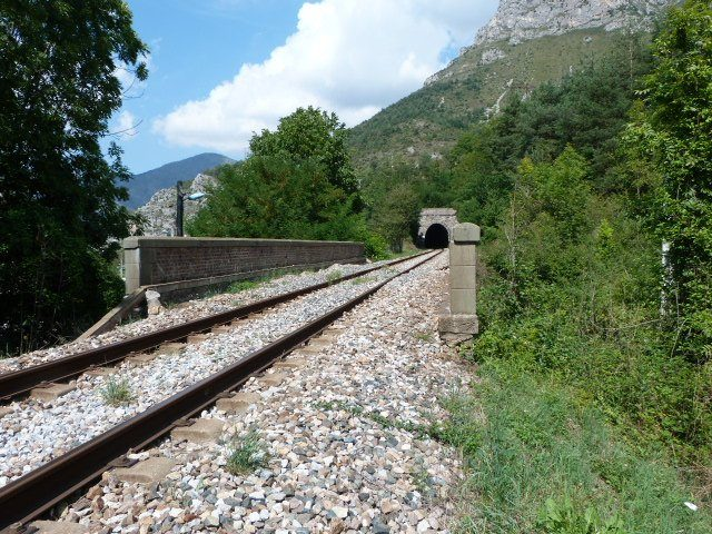 railway line with tunnel