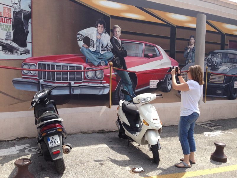 Cannes cinema wall cars