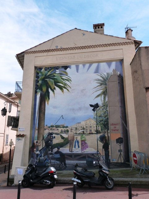 Cannes wall painting behind the camera