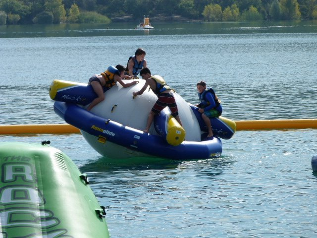 Lac St Cassien fun on inflatables