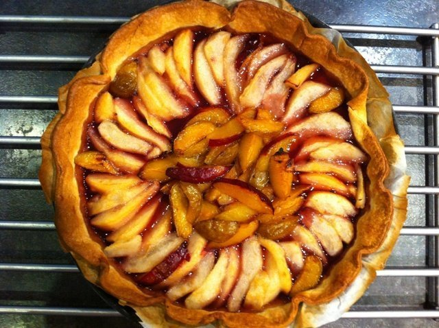 plum and pear tart