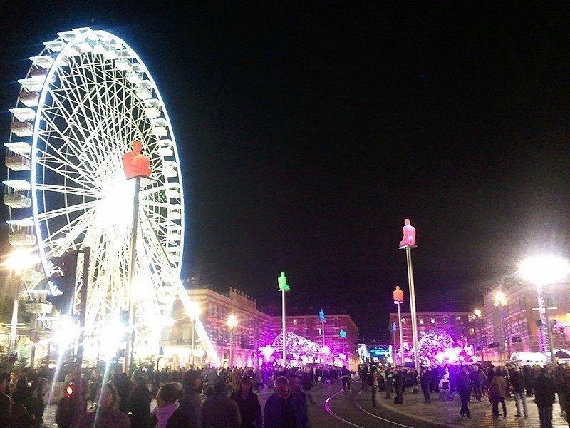 Christmas wheel and market Place Massena Nice France