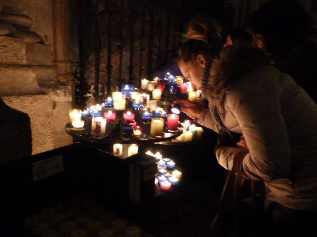 candles in Lyon cathedral