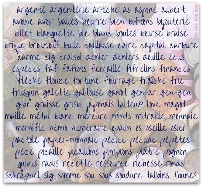synonyms money French language