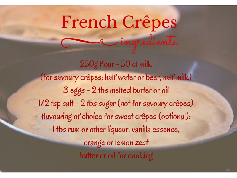 ingredients for how to make french crêpes