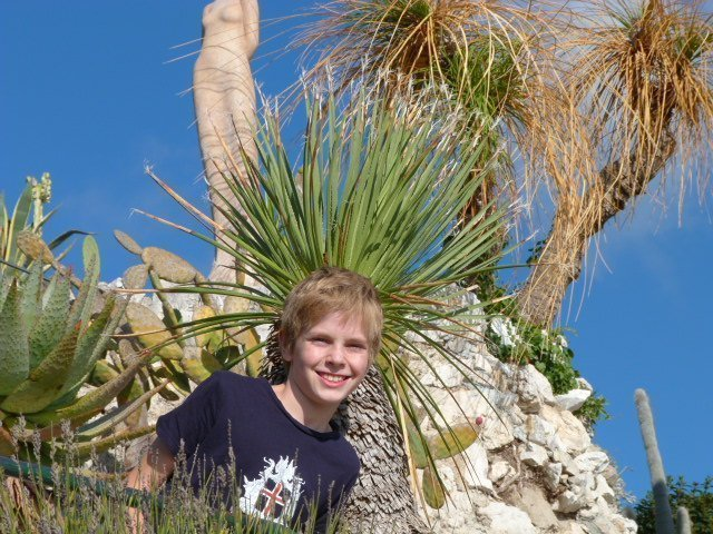 kid at exotic gardens of Eze