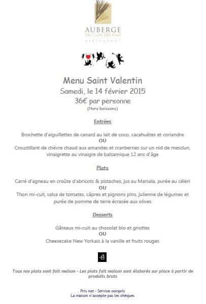 Valentines meal at Auberge du Clos des Pins