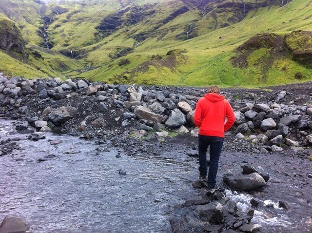 hiking to mountain pool in Iceland