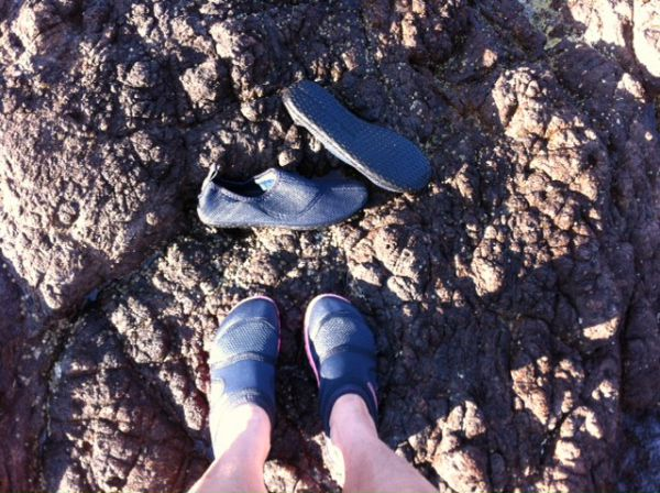 swimming shoes on rough rocks
