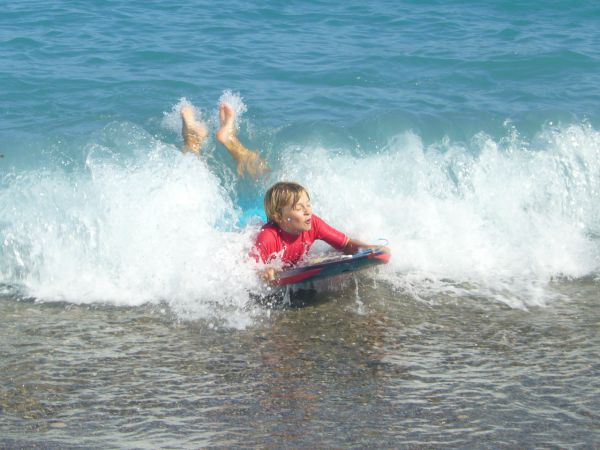 boogie boarding at Villeneuve Loubet beach