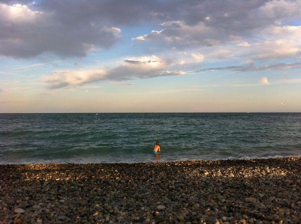 evening swim at Villeneuve Loubet