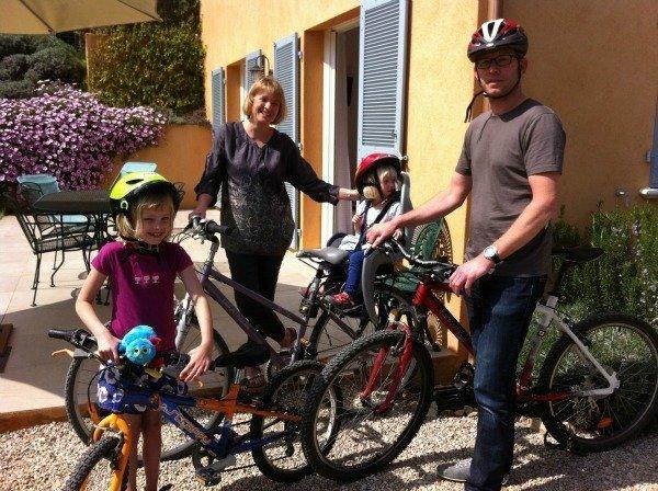family on bikes at Lou Messugo gite