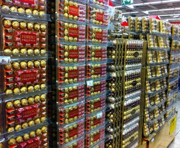 ferrero chocolates in French supermarket
