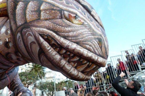 godzilla attacks Nice carnival