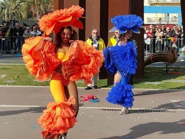orange blue dancers