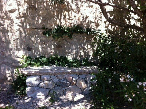 shady bench in La Colle sur Loup