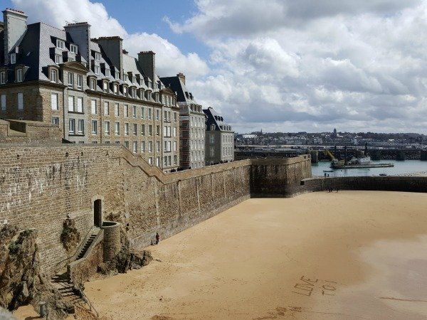 St Malo ramparts and beach Brittany France