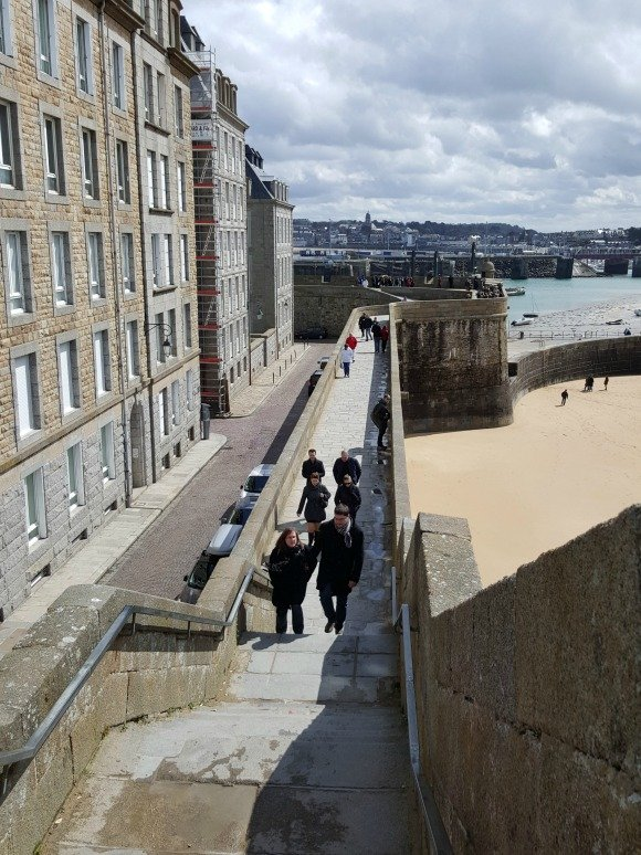 St Malo steps on ramparts