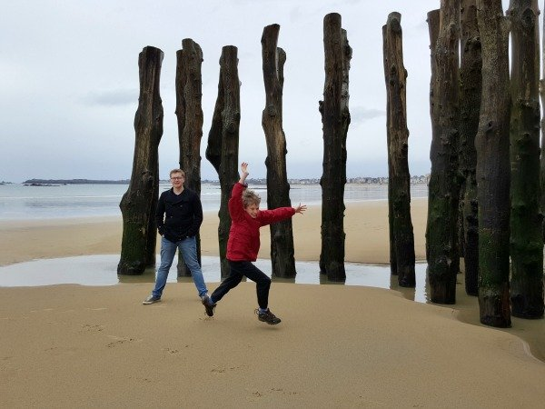 playing on beach in St Malo