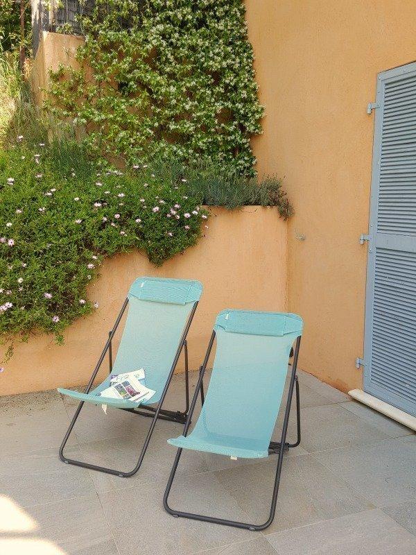 magazine and jasmine on gite terrace
