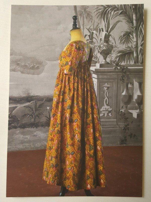 postcard of dress at costume museum