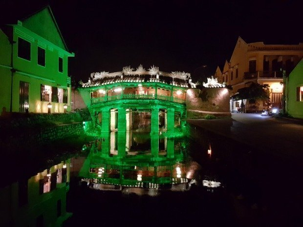 Japanese covered bridge Hoi An Vietnam at night