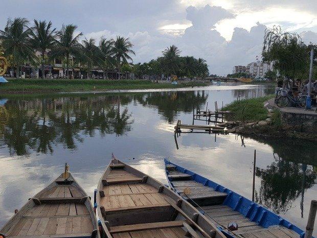 boats on river Hoi An Vietnam
