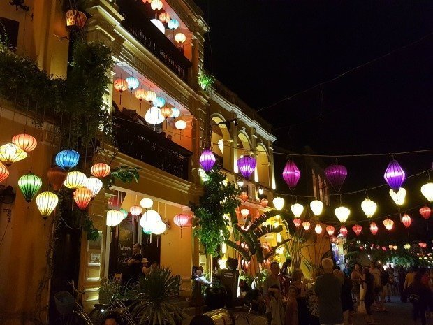 nighttime Hoi An with lanterns