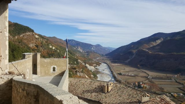 Entrevaux citadel view of Var river