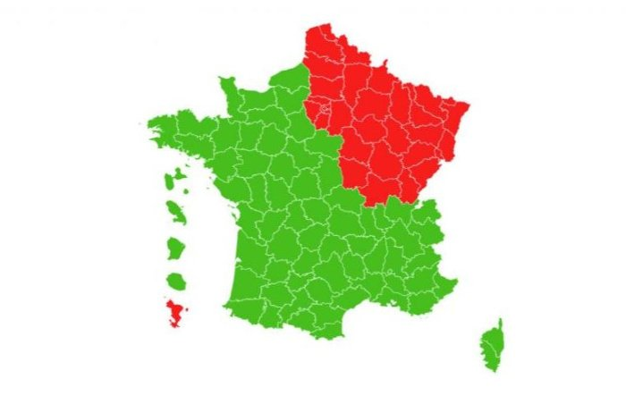 deconfinement map of France going green
