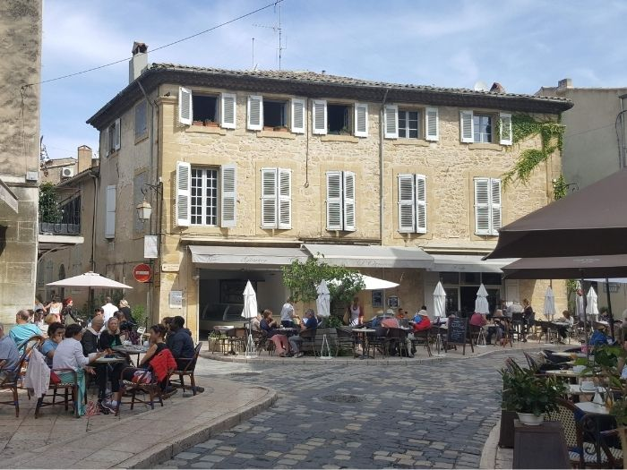 village square in Lourmarin in the Luberon area of Provence