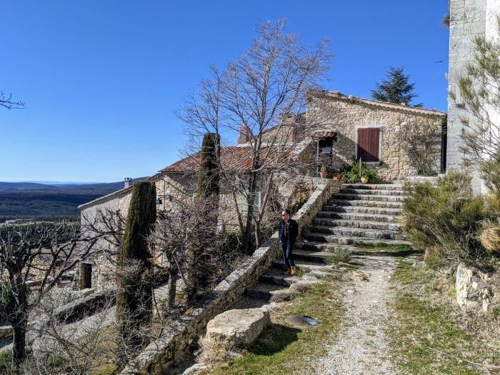 grassy steps in charming village