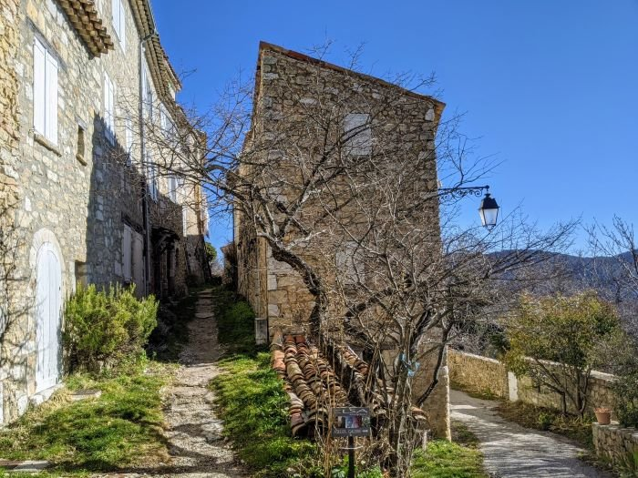 grassy alley in hill village in the Var