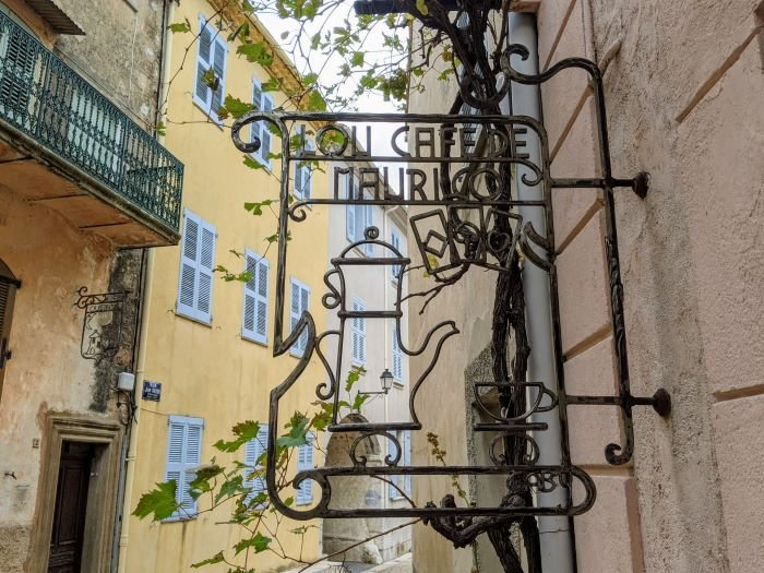 iron street sign in charming village in the Var